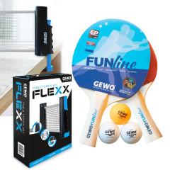 GEWO Set 1x Schlägerset Double Fun + 1x Netz Flexx